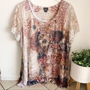 Simply Emma lace overlay flowy floral script top